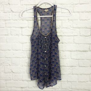 Aerie Sheer Floral Metallic Embroidered Light Tank
